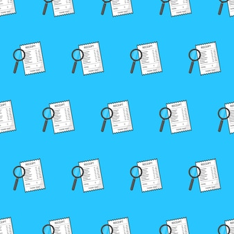 Receipt with magnifying glass seamless pattern on a blue background. financial theme vector illustration