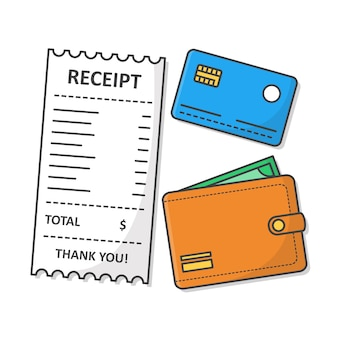 Receipt with wallet and credit card . financial check flat