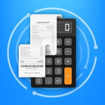 현금 또는 신용 카드 거래에 대한 현실적인 지불 종이 청구서 영수증. 벡터 재고 일러스트 레이 션