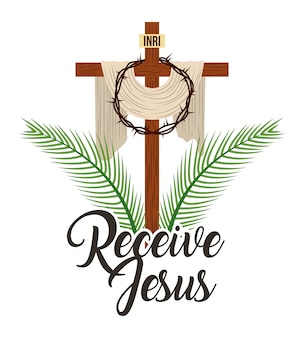 Receive jesus sacred cross and crown thorns