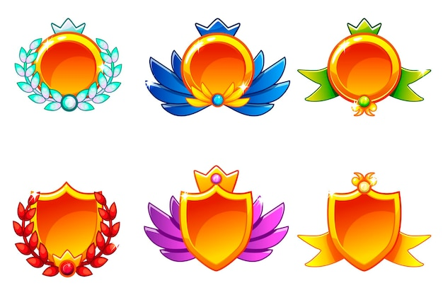 Receiving achievement, vector templates awards. for game, user interface, banner, application, interface, game development. icons on a separate layer