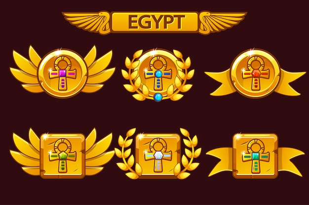 Receiving the cartoon game achievement. egyptian awards with golden cross ankh symbol. for game, user interface, banner, application, interface, slots, game development.