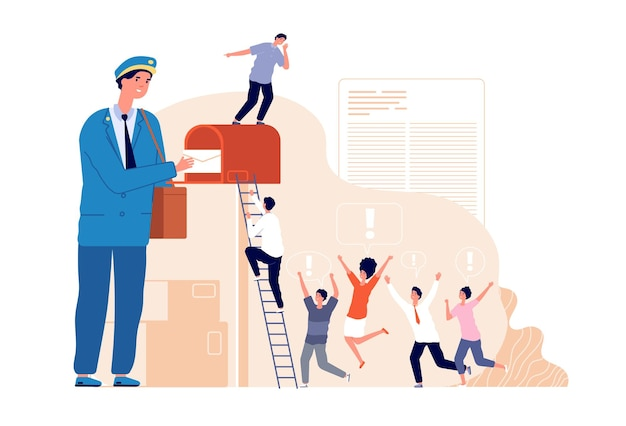 Receiving letter. marketing post, mail service for business people. postman delivered newsletter in mailbox, social news vector concept. marketing mailbox, mail newsletter in envelope illustration
