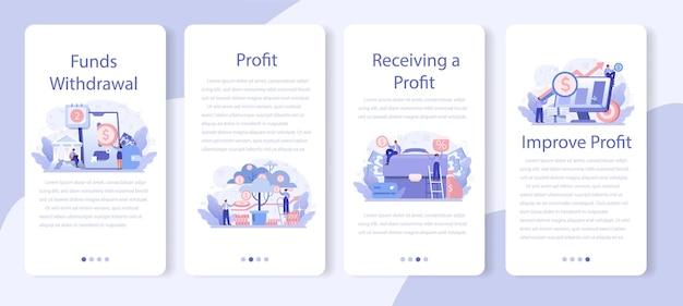 수신 이익 모바일 응용 프로그램 배너 세트. 비즈니스 성공과 재정적 성장에 대한 아이디어. 상업 활동 진행 및 소득 증가.