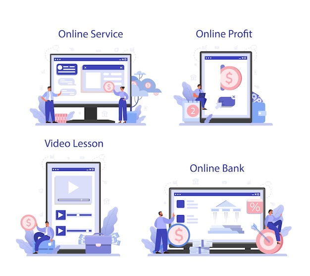 수익을받는 온라인 서비스 또는 플랫폼 세트. 비즈니스 성공과 재정적 성장에 대한 아이디어. 상업 활동 진행. 온라인 은행, 수익, 비디오 강의.