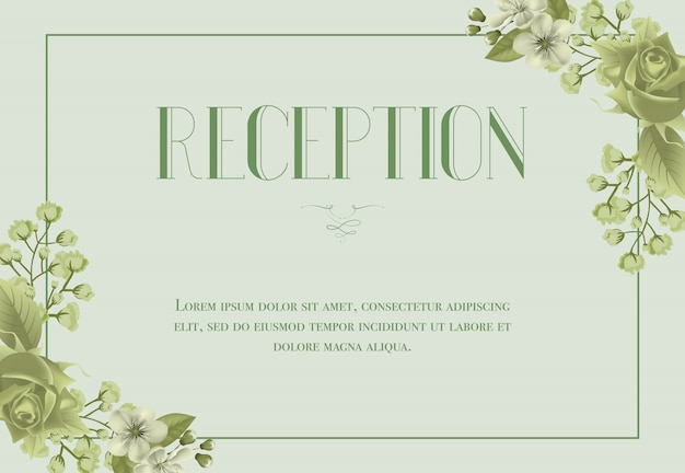 Reception card template with blossom, rose and lily of valley on light green background.