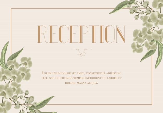 Reception card template with iris and lily of valley on beige background.