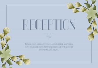 Reception card template with snowdrops and lily on blue background.