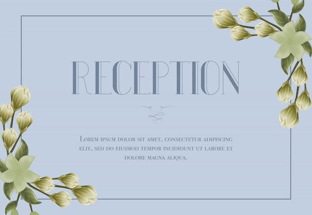 Snowdrops와 파란색 배경에 릴리 리셉션 카드 템플릿.