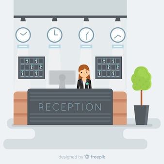 Reception concept in flat design