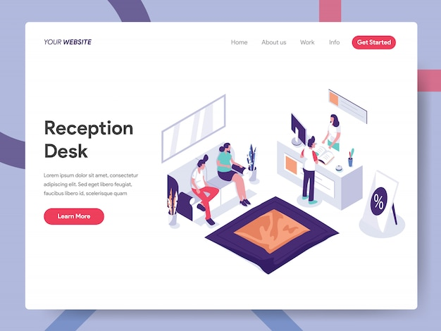 Reception desk landing page