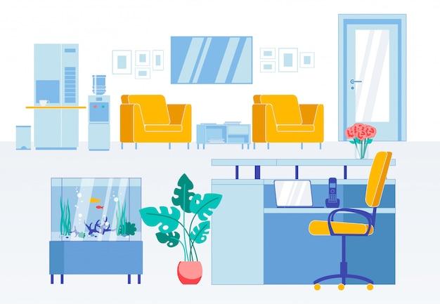 Прием плоский интерьер в современном бизнес-офисе