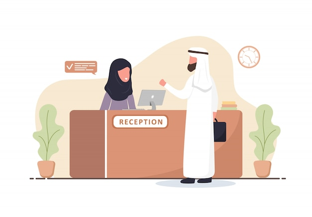 Reception interior. arabic woman receptionist in hijab. arab man at reception desk. hotel booking, clinic, airport registration, bank or office reception concept. cartoon flat illustration.
