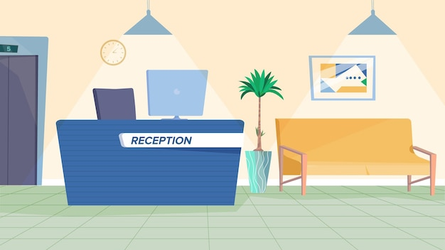 Reception interior concept in flat cartoon design waiting hall lobby with table with computer sofa f...