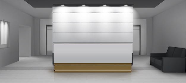 엘리베이터가있는 리셉션 내부, 책상, 조명, 소파 및 엘리베이터 문이있는 현대적인 현관 공간. 부드러운 빛, 현대적인 장식 렌더링, 현실적인 3d 벡터 일러스트와 함께 빈 홀 또는 로비 영역