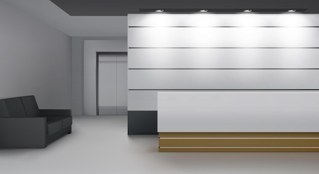 Reception interior with lift, modern foyer room with desk, illumination, couch and elevator door
