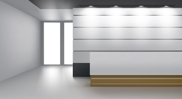 Reception interior with modern desk, lamp illumination on ceiling and glass door