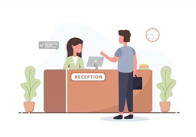 리셉션 인테리어. 젊은 여자 접수 및 리셉션 데스크에서 서류 가방을 가진 남자. 호텔 예약, 클리닉, 공항 등록, 은행 또는 사무실 리셉션 개념. 만화 평면 그림입니다.