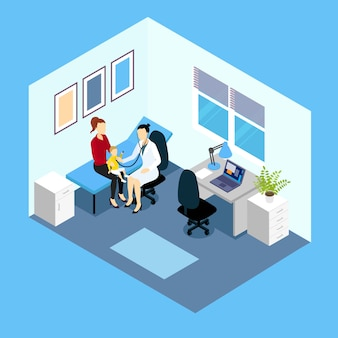 Reception at pediatrician isometric design