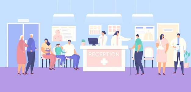 Reception and people patients in medical clinic or hospital illustration.