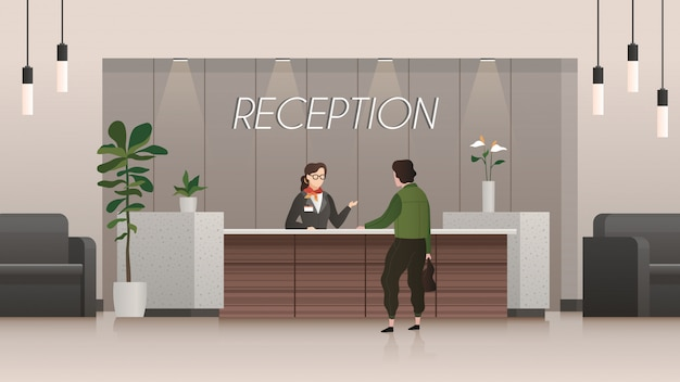 Reception service. receptionist and customer in hotel lobby hall, people travelling. business office flat vector concept