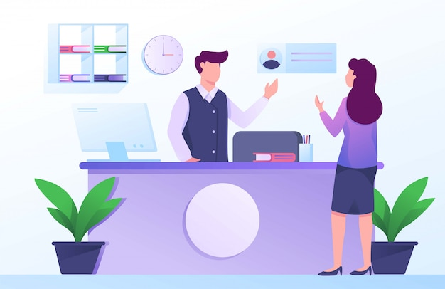 Receptionist hotel illustration flat ui ux