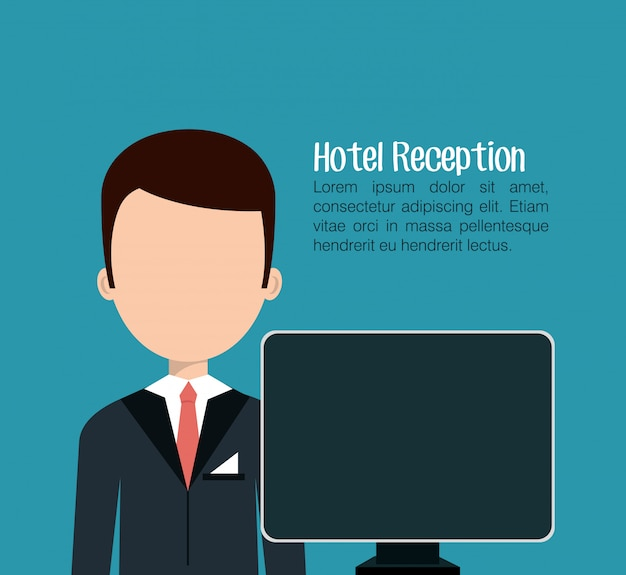 Receptionist hotel service isolated icon