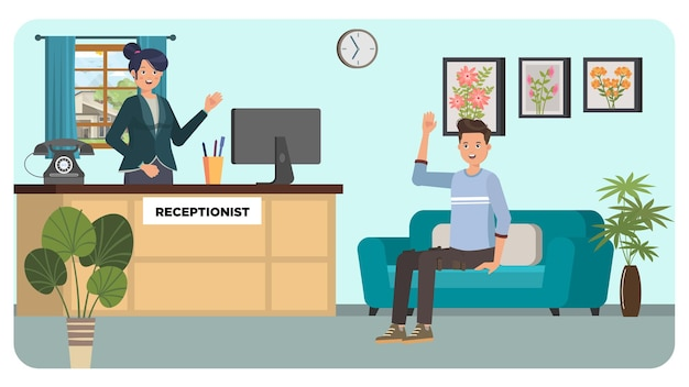 Receptionist indoor illustration
