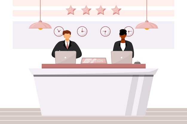 Receptionists at front desk flat color illustration. multicultural hotel staff. guest registration area, lobby. reception workers isolated cartoon characters on white background