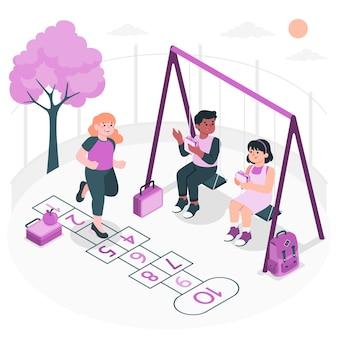 Recess concept illustration