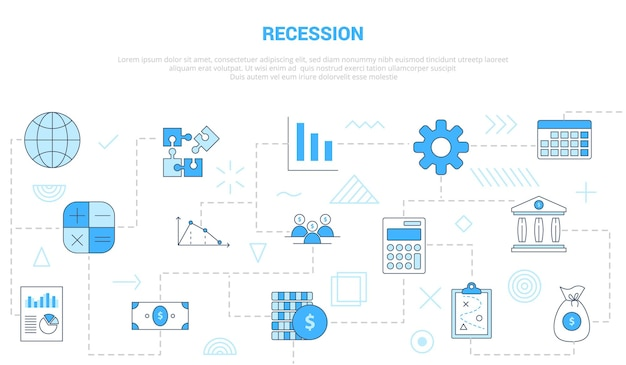 Recession concept with  set template
