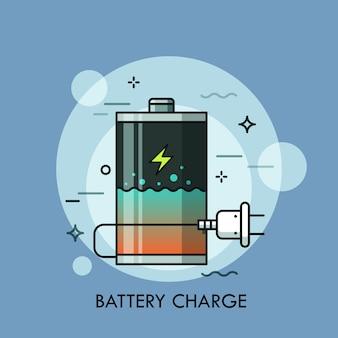 Перезаряжаемый аккумулятор с жидкостью внутри и вилкой. концепция проверки уровня заряда, зарядное устройство или зарядное устройство, powerbank, электрическое устройство