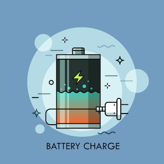 Rechargeable battery with liquid inside and plug. concept of charge level check, charger or recharger, powerbank, electrical device