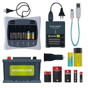 Rechargeable lithium battery and different accumulators isolate on white.