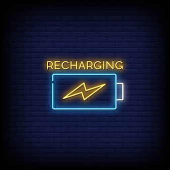 Recharging neon signs style text