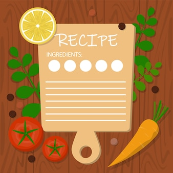 レシピバナーテンプレート。テキスト、料理のアイデアのための空白スペース