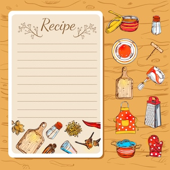Recipe book and kitchenware