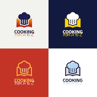 Recipe book logo template design in outline style vector design.