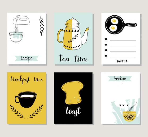 Recipe card template with food.