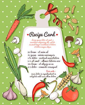 Recipe card template with text space surrounded by fresh vegetables  mushrooms and spices with assorted dried italian pasta