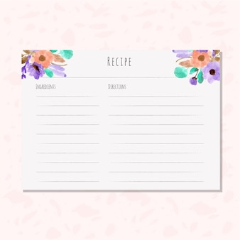 Recipe card with beautiful floral watercolor