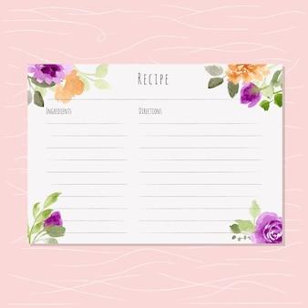 花の水彩エッジを持つレシピカード