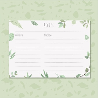 Recipe card with leaves background