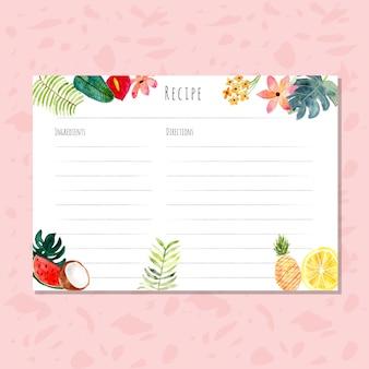 열대 식물 수채화와 레시피 카드