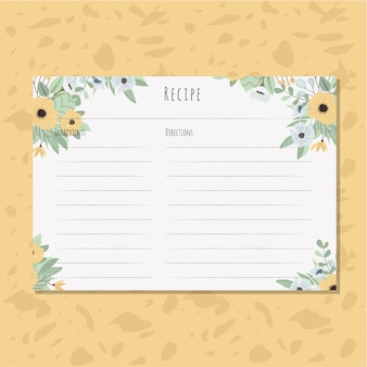 Recipe card with yellow floral arrangement