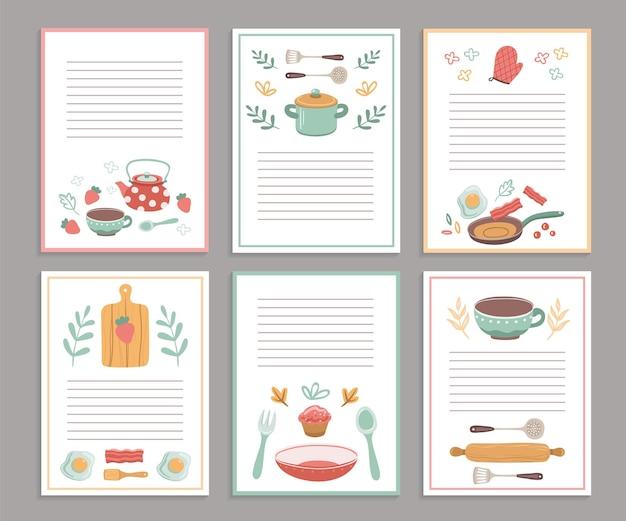 레시피 카드. 요리 책 빈 페이지. 요리 책 스티커, 귀여운 홈 메뉴