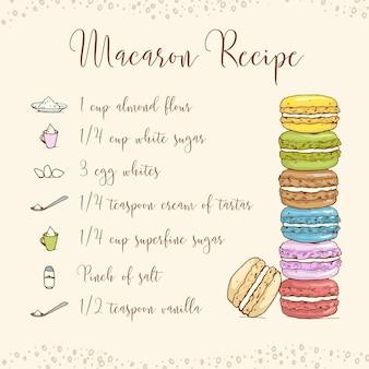 Рецепт макарон, рисованный эскиз и цвет.