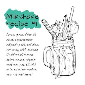 Рецепт молочного коктейля, смузи с конфетами, мороженым, клубникой и корицей.
