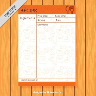 Recipe template with food drawings