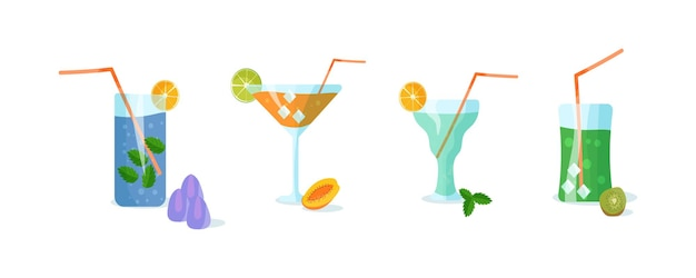 Recipes for beverages made from fruits and herbs. set of cocktails illustration